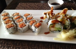 Lunch special at Kumo: spicy tuna and shrimp tempura rolls