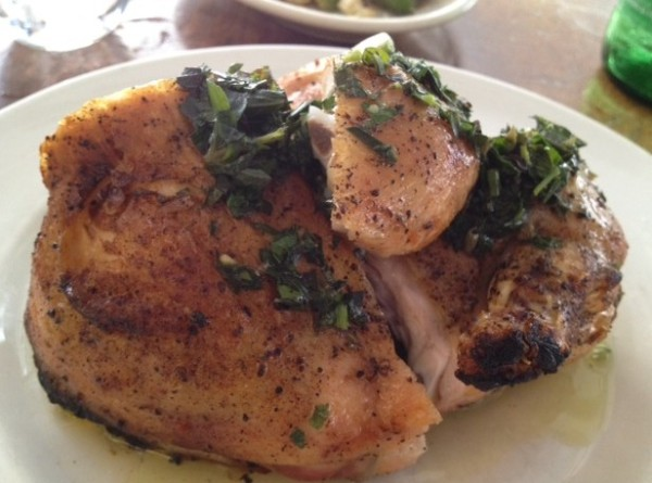 Barbuto's signature dish: Roasted Chicken with Salsa Verde
