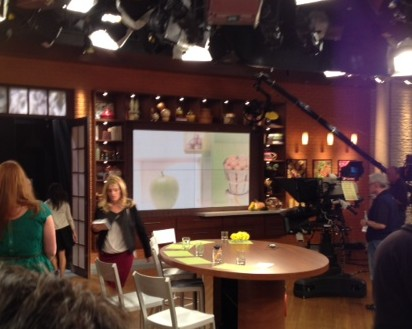 Daphne Oz on set right before taping begins