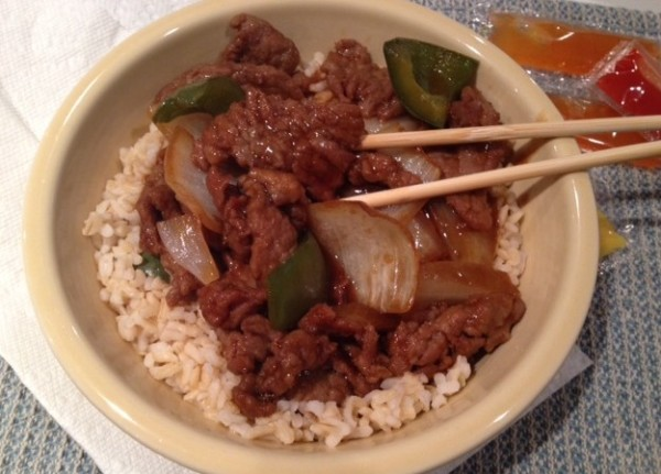 Pepper steak with brown rice didn't quite hit the spot