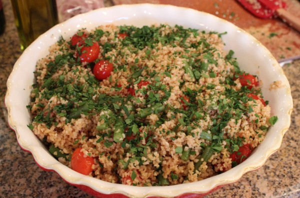 Bulgur wheat with cherry tomatoes and blanched green beans