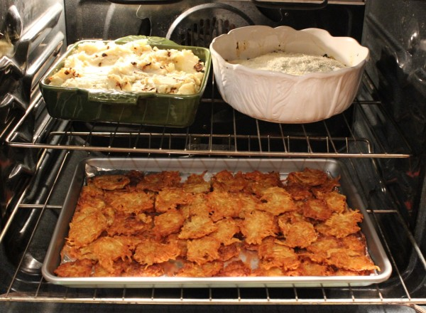 Mashed potatoes with crispy shallots, spinach gratin with bechamel and everyone's favorite Chanukah dish, potato latkes