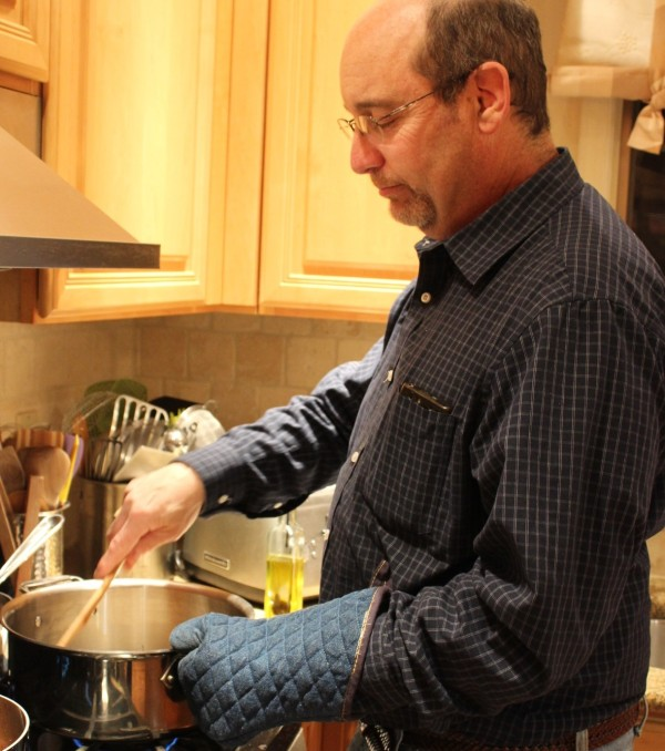 My husband displays the utmost patience as he stirs the risotto