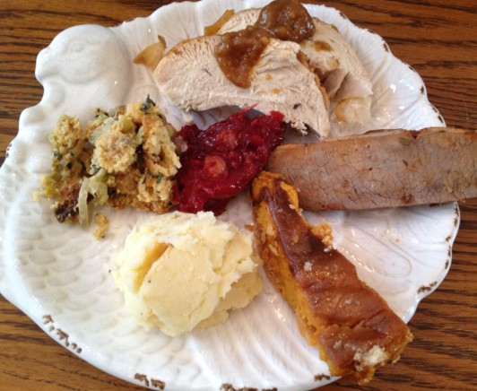 First sampler: turkey with citrus gravy, cornbread-leek stuffing, brisket, mashed potatoes and parsnips, cranberry-plum-ginger chutney and sweet potato torte
