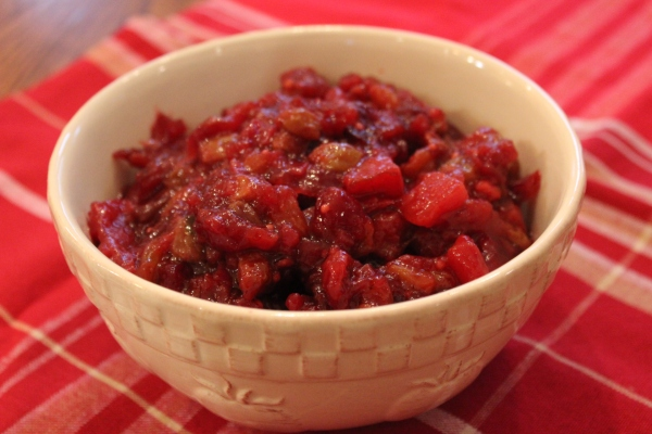 Cranberry, plum, and ginger chutney: Tart and sweet with warm undertones and a touch of heat